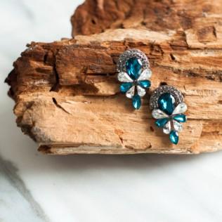 Kolczyki turquoise crystal