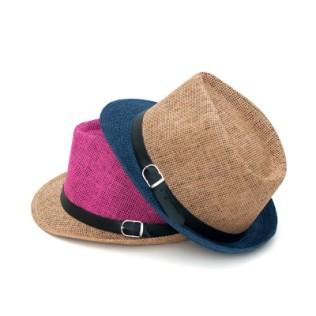 Dwukolorowy kapelusz trilby z szarfą