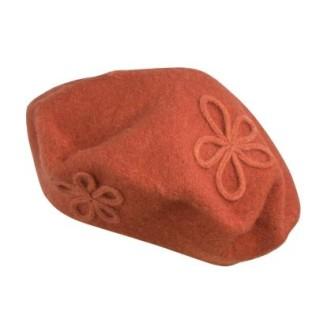 Wełniany beret z kwiatową aplikacją