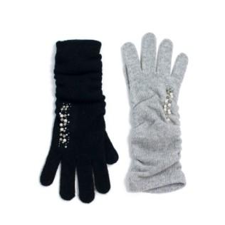 Długie, marszczone rękawiczki z perełkami